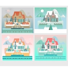 Four seasons designs with island house vector