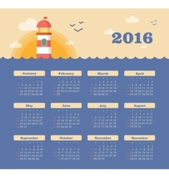 Calendar for 2016 with lighthouse sunset sea vector