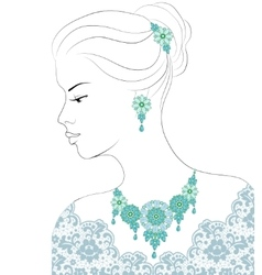 Woman and jewelry vector