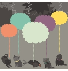 Monochrome cats with color speech bubble vector