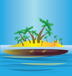 An abstract island in the sea with yellow land vector