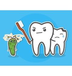Tooth defending bitten little friend vector