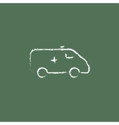 Ambulance car icon drawn in chalk vector