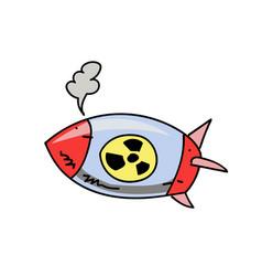 atom bomb cartoon hand drawn image vector image