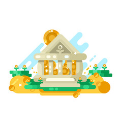 bank abstract building with golden coin in storage vector image vector image