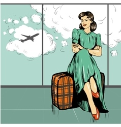 Beautiful woman sit on a bag in airport vector image