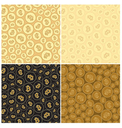 black and golden backgrounds with bitcoins vector image