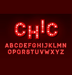 broadway style retro light bulb font vector image vector image