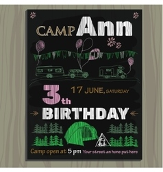 Chalk board invitation for birthday in the camping vector