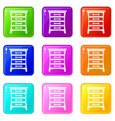 Chest of drawers set 9 vector
