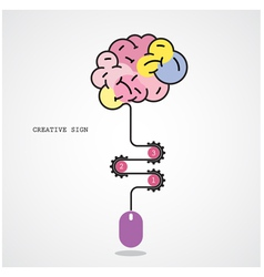 Creative brain idea and computer mouse vector