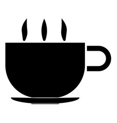 Cup with hot tea or coffee the black color icon vector
