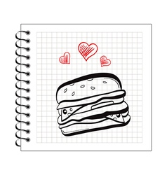 doodle burger on notepad paper vector image vector image