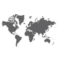 dotted world map of square dots on white vector image