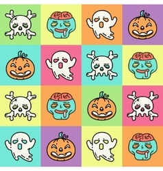 Flat linear pattern with Halloween icons vector image vector image