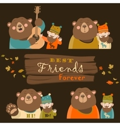 Funny bear and man are the best friends vector