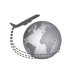 gray earth planet with airplane icon vector image