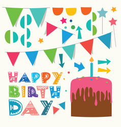 happy birthday greeting design elements vector image vector image