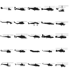 helicopter set black icon on vector image