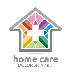 Home care healthy rainbow symbol buildings vector