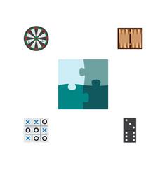 Icon flat entertainment set of backgammon darts vector