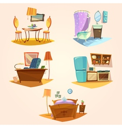 Interior cartoon retro set vector image
