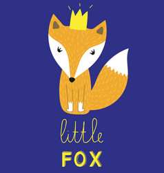 Little fox slogan animal with crown vector