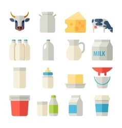 Milk icons flat set with cow butter cheese vector image