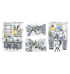 Modern room interiors in loft style set of hand vector