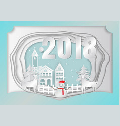 Paper art carving of merry christmas 2018 vector