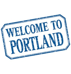 Portland - welcome blue vintage isolated label vector