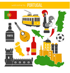 portugal traditional objects collection on white vector image