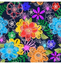 Seamless floral background Hand drawn flowers and vector image