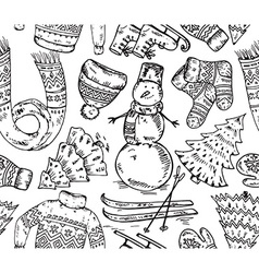 Seamless pattern with winter holiday elements vector image