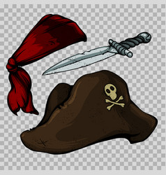 Set of pirate items vector