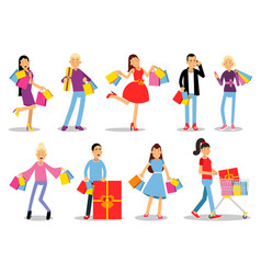 Shopping people concepts flat design vector