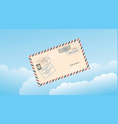 Sky with clouds and a mail envelope vector
