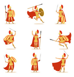 spartan soldier in golden armor and red cape set vector image