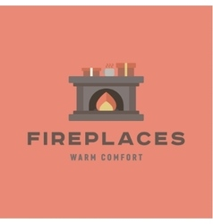 Warm and cozy fireplace of flat vector