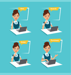 Woman makes order online four stages of process vector