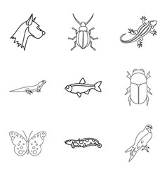 wood beetle icons set outline style vector image vector image