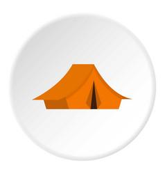 Yellow tent icon circle vector