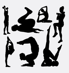 Aerobic man and woman sport silhouette vector