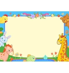 Banner animals kindergarten funny flowers poster vector