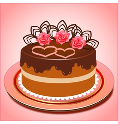 Chocolate cake with hearts and roses vector