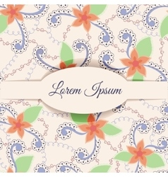 Background with banner and vintage flowers vector image