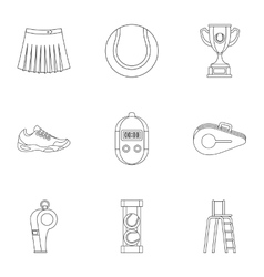 Tennis icons set outline style vector