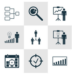 Set of 9 authority icons includes system vector