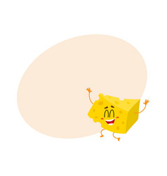 Cute and funny cheese chunk character jumping from vector