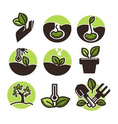 Set of gardening labels vector